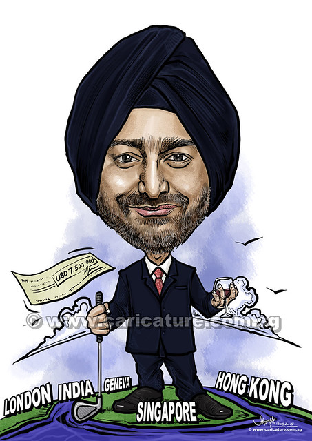 boss digital caricature with golf club and wine (watermarked)