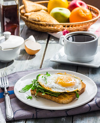 crispy toast with a fried egg and green arugula, c…
