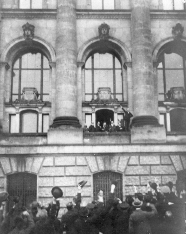 Proclamation of German Republic by MSPD member Philipp Scheidemann at the Reichstag building