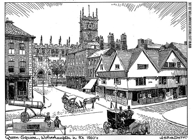 High Green ( Queen Square) Wolverhampton in 1860 as depicted and drawn by Arthur Arrowsmith in 1950.