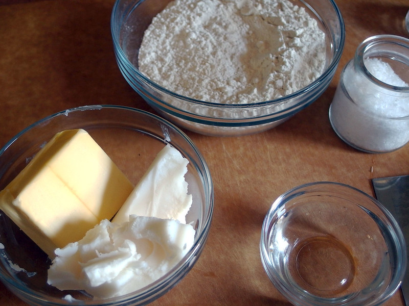 Butter, lard, flour, water, salt