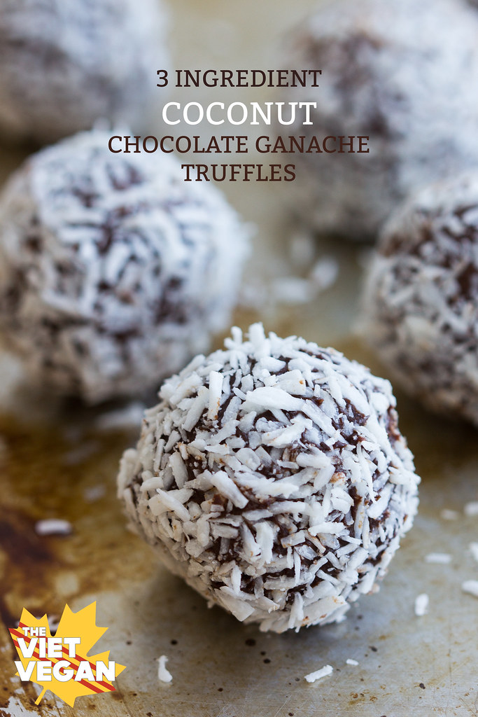 THREE INGREDIENT Vegan Coconut Chocolate Truffles | The Viet Vegan | Creamy...sweet...and coconutty. Delicious!