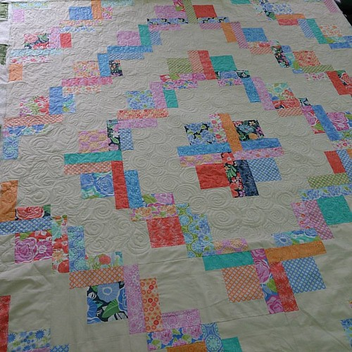The story so far... #freemotionquilting I had to stop because I ran out of Aurifil! Fabric line is Honey Honey by Kate Spain. Doesn't have a name yet. Suggestions?