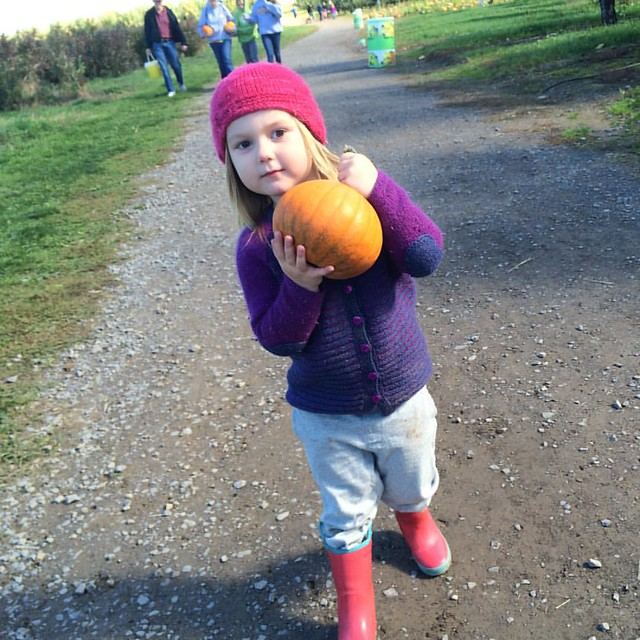 Maddy got a pumpkin of her own. She's looking forward to decorating it!