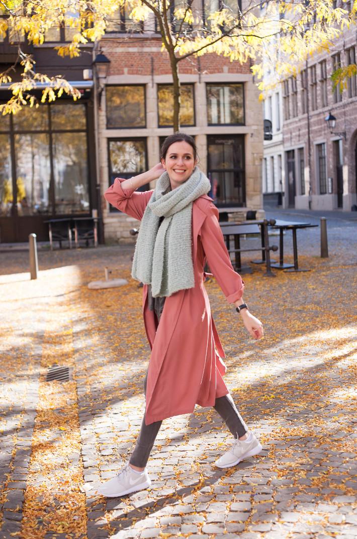 Outfit: oversized scarf, pink duster coat, white Nike roshe runs