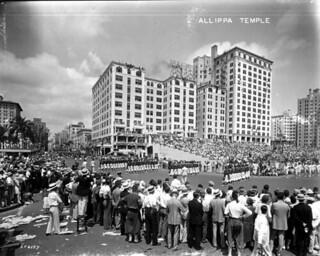 Shriner's parade turning onto Flagler Street from Biscayne Boulevard - Miami