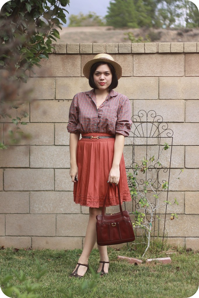 Sweets and hearts fashion & style: outfit featuring thrifted vintage plaid blouse, orange pleated skirt, t-strap wedges