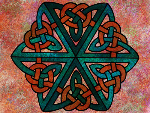 Digital collage with Celtic Knot