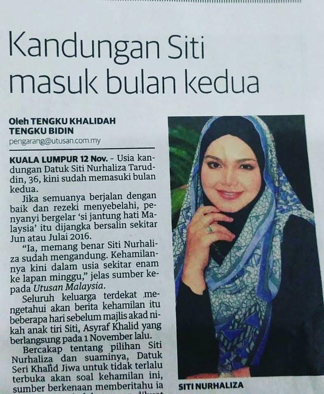 Usia Kandungan Dato' Siti Nurhaliza Masuk Dua Bulan