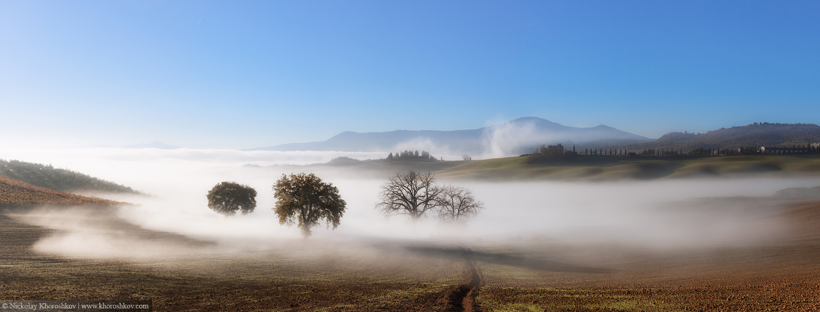 Panorama of Tuscanian farmland landscape