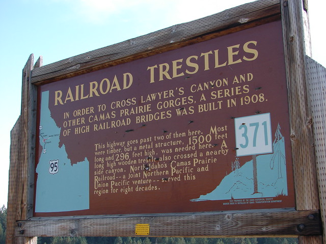 Camas Prairie Trestle Sign