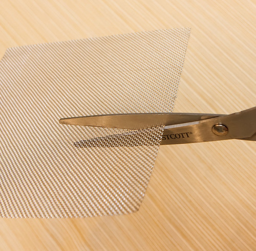 cutting stainless steel 20 mesh with scissors