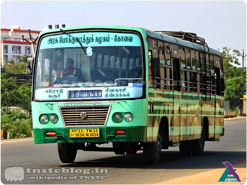 TN-33N-3034 of Erode 3 Depot Route Erode - Sivakasi via Karur, Dindigul, Madurai, Virudhunagar.