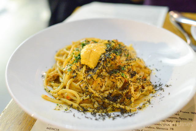 Spaghetti Rustichella. sea urchin. garlic. calabrian chilies. squid ink bottarga. breadcrumbs.