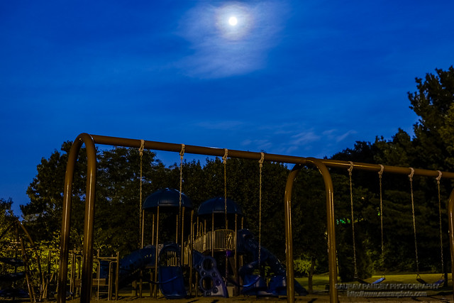 Full moon over playground