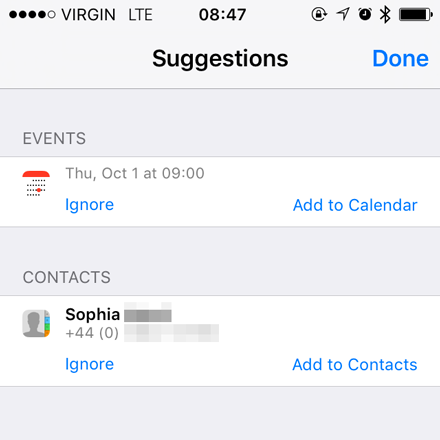 Proactive suggestions for contacts and calendar event