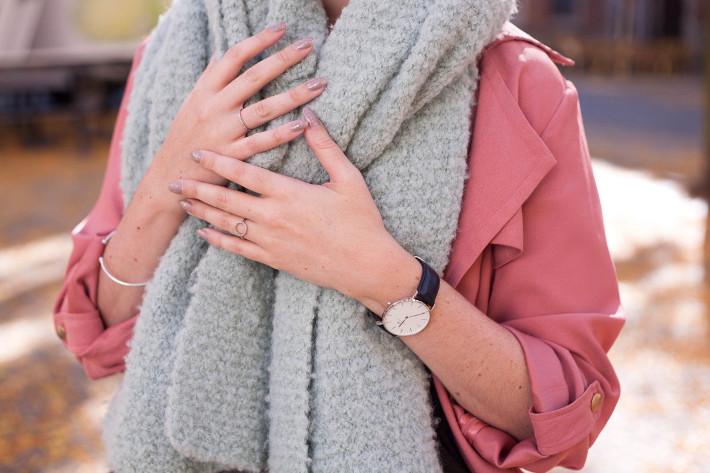 Outfit: pink duster coat, white Nike roshe runs