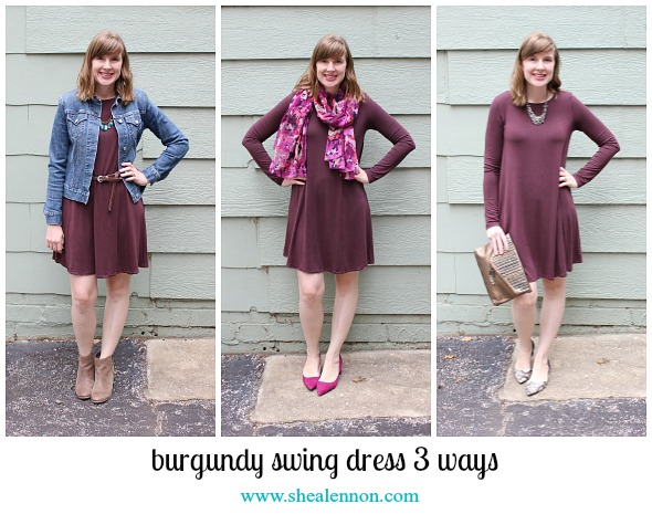 Burgundy Swing Dress Collage