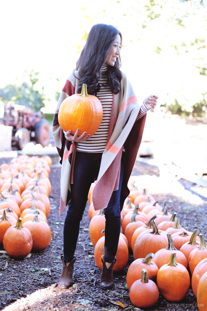fall outfit cape sweater stripes