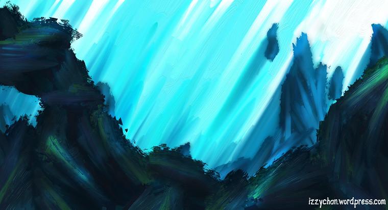 underwater landscape artrage blue green