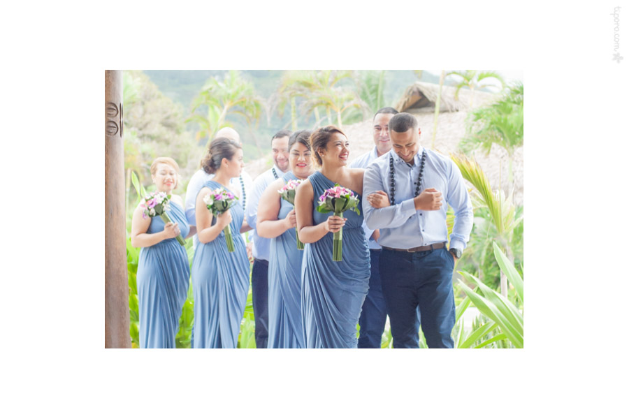 Announcing the Bridal Party. Nautilus Resort, restaurant, Rarotonga