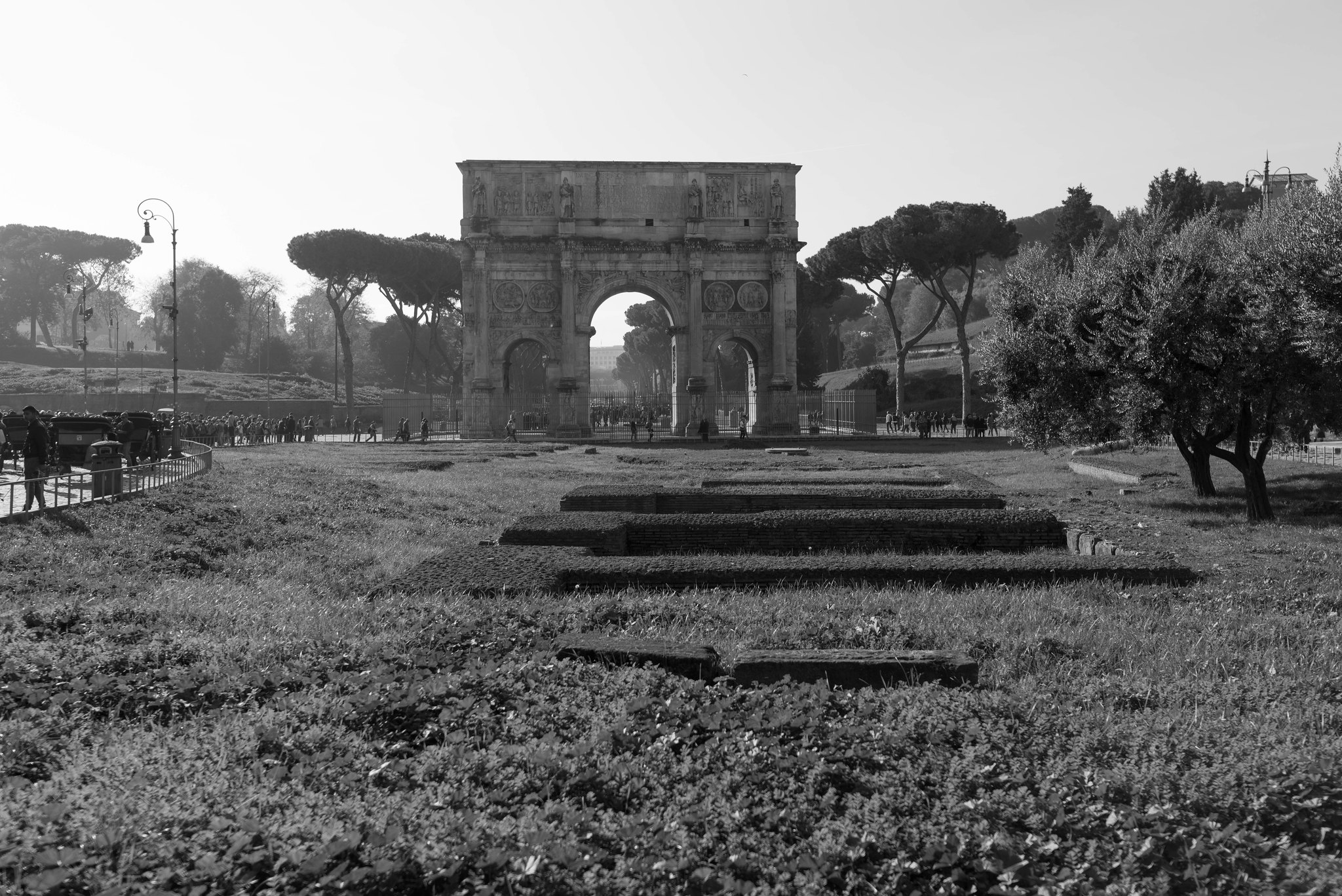 Arch of Constantine Rome in B&W