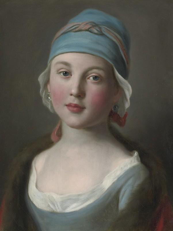 Pietro Antonio Rotari - Portrait Of A Russian Girl In A Blue Dress