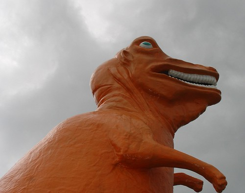 Orange Dinosaur at Route 1 Miniature Golf