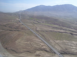 Aerial view of an Afghan highway from a Blackhawk helicopter.