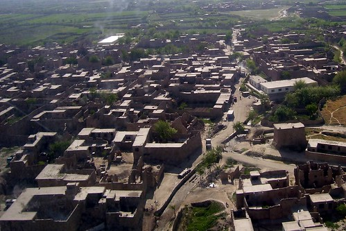 Aerial view of another Afghan town from a Blackhawk helicopter.
