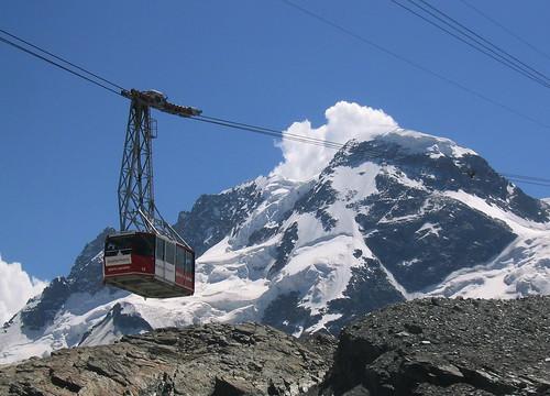 Sci estivo:Klein Matterhorn funivia per il ghiacciaio del Theodul, Zermatt