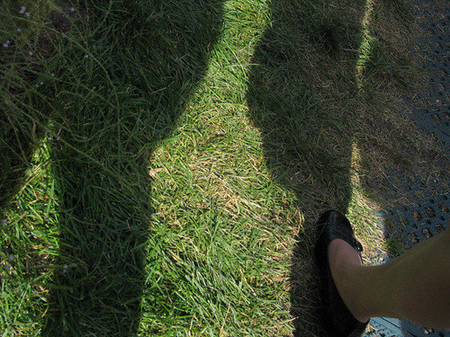 Cropped photo of a shadow of two people, on grass. A foo t in a woman's black flat shoe is visible on the lower right.
