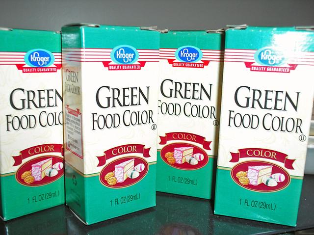Supplies for a green velvet cake