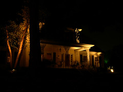 landscape lighting, light, house, darkness, midnight, night, lighting,