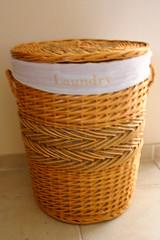 storage basket, wicker, basket, laundry,