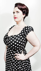 polka(0.0), sleeve(0.0), pattern(1.0), neck(1.0), hairstyle(1.0), model(1.0), clothing(1.0), cocktail dress(1.0), polka dot(1.0), hair(1.0), fashion(1.0), photo shoot(1.0), design(1.0), dress(1.0),
