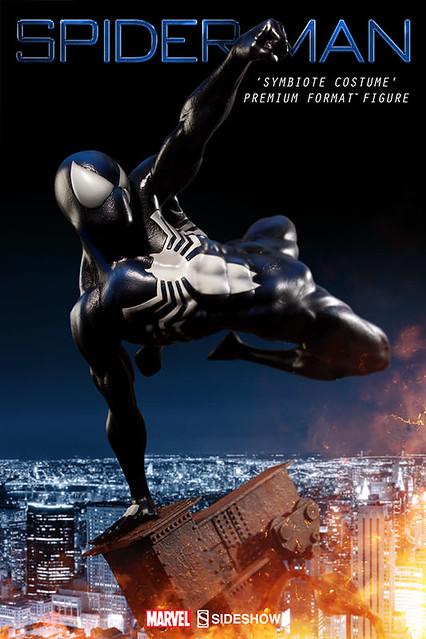 Sideshow Collectibles【黑色。蜘蛛人】Spider-Man Symbiote Costume 1/4 比例 全身雕像