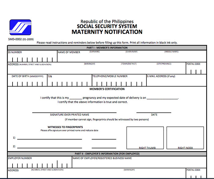 SSS Maternity Notification Form