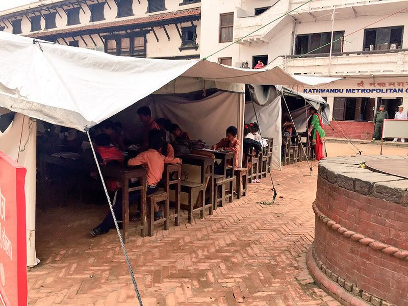 Classes running under the tents in Basantapur
