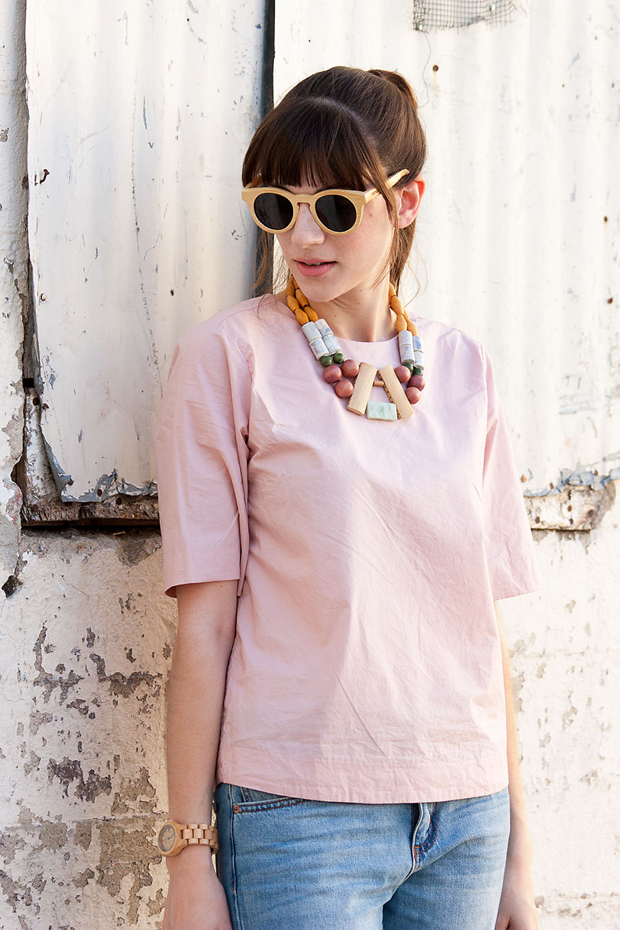Pink Everlane Structure Tee, Wood and Bead Necklace, Wood Watch, Wood Sunglasses