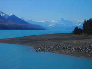 Mount Cook across Lake Pukaki. Beautiful New Zealand.