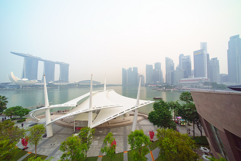 haze over marina area