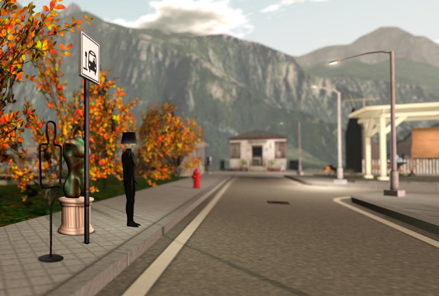 The town of Brazen Fair Ends: weird buddies waiting for the bus