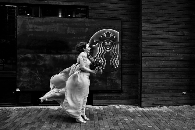 Lindsey and Shaun's First Look at Starbucks in downtown Austin, Texas - Love Wins, Gay Wedding, Lesbian Wedding