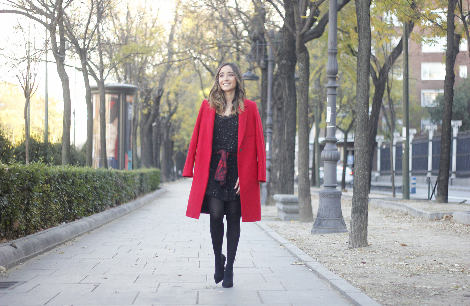 Red Coat With Party Black Dress Mango Outfit Style 03