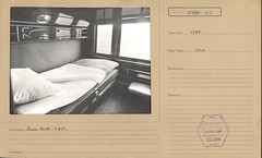 Interior of railway carriage showing lower berth of C.A.M sleeping car