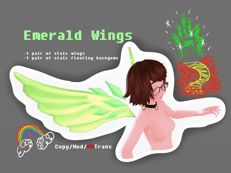 =BRUSH= Emerald Wings - SecondLifeHub.com