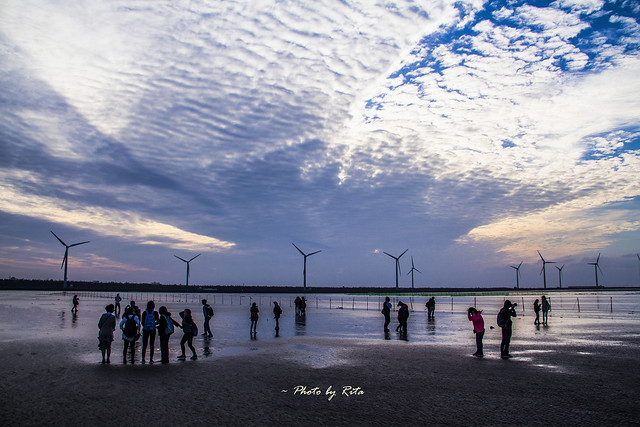 People, windmills and view