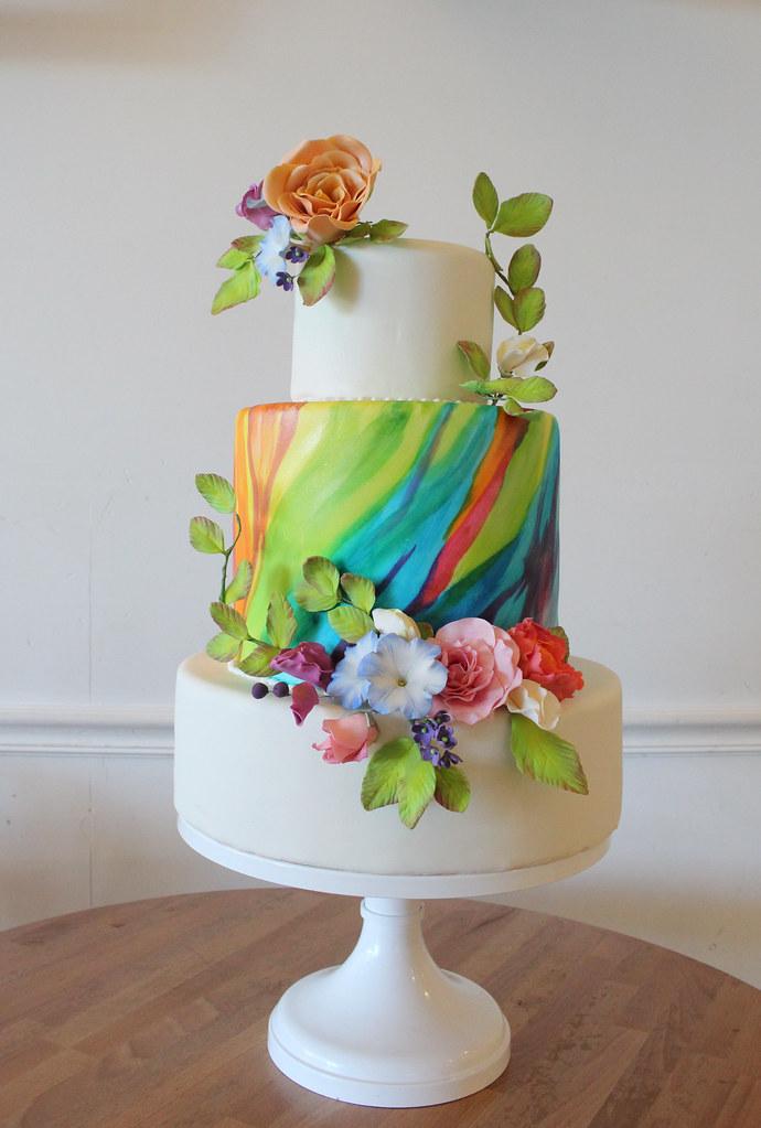 elegant wedding cakes | Oakleaf Cakes Bake Shop Elegant Rainbow Wedding Cake