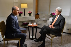 U.S. Secretary of State John Kerry participates in an interview with Abderrahim Foqaraa of Al Jazeera Arabic in New York City on October 2, 2015. [State Department photo/ Public Domain]